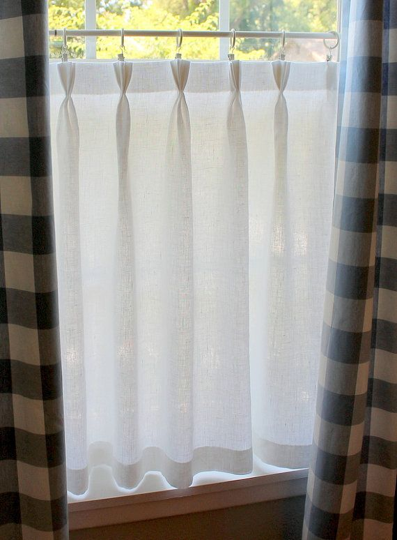 Gorgeous Linen Café Curtain With Sweet Triple Pinch Pleated Top. 100 Per  Cent Linen Washes