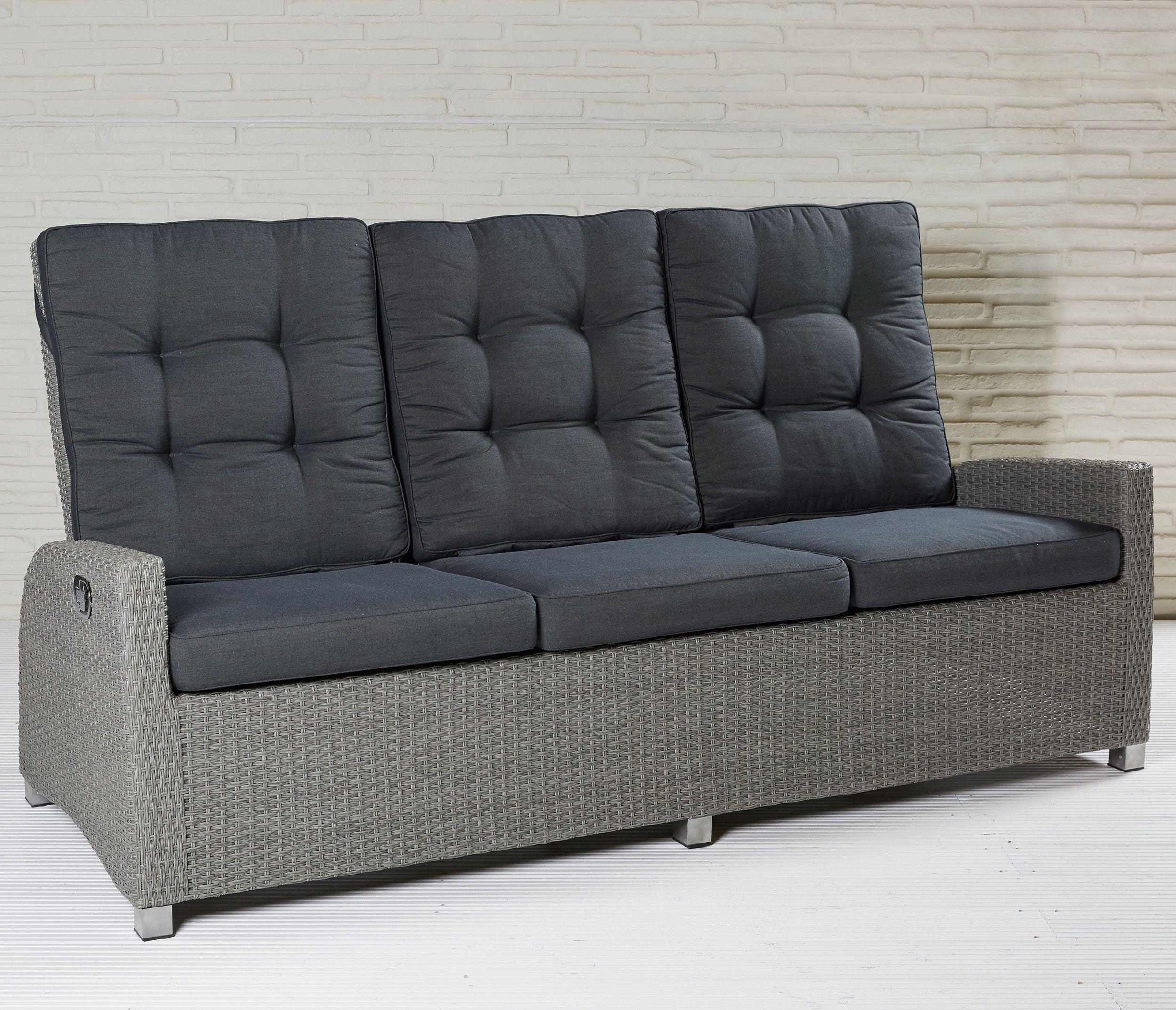 Modesto Living 3er Sofa Mit Polsterauflagen In Grau Polyrattan Gartenmobel Loungemobel Gartensofa Sofa Sofaverstell 3er Sofa Lounge Garnitur Gartenmobel