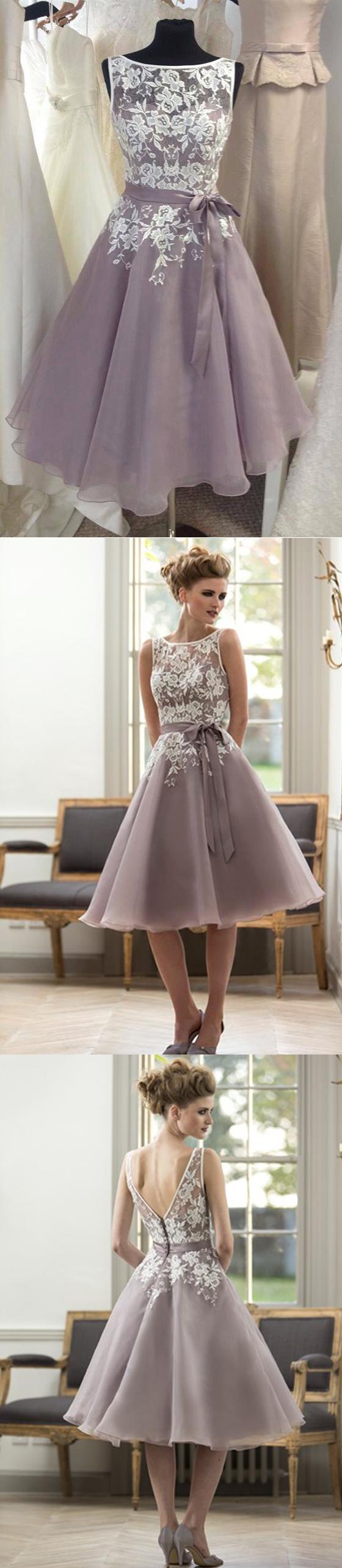 Scoop neckline lace top short bridesmaid dresses with sash formal
