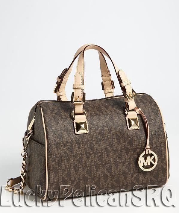 b3479e4d7039 Michael Kors Grayson MK Signature PVC Medium Satchel Bag Handbag Brown NWT # MichaelKors #Satchel