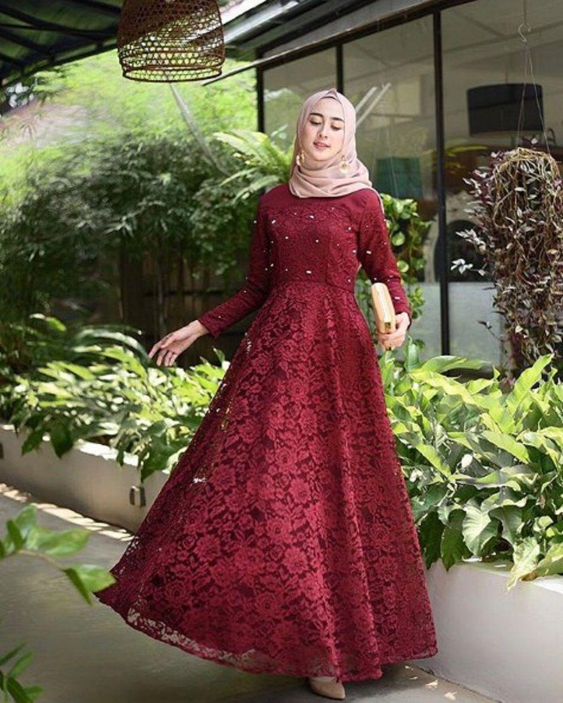 11 Model Baju Gamis Brokat Pesta Muslim Mewah Modern di Tahun 11