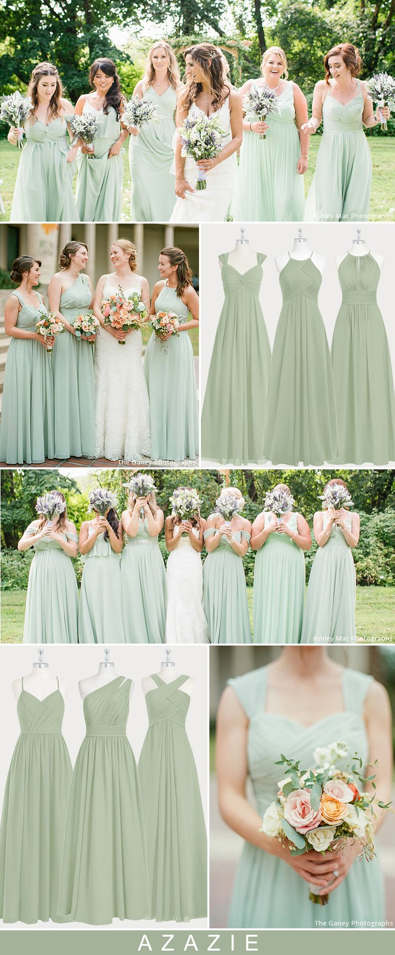 Azazie Dusty Sage Bridesmaid Dresses - Real Wedding Inspirations