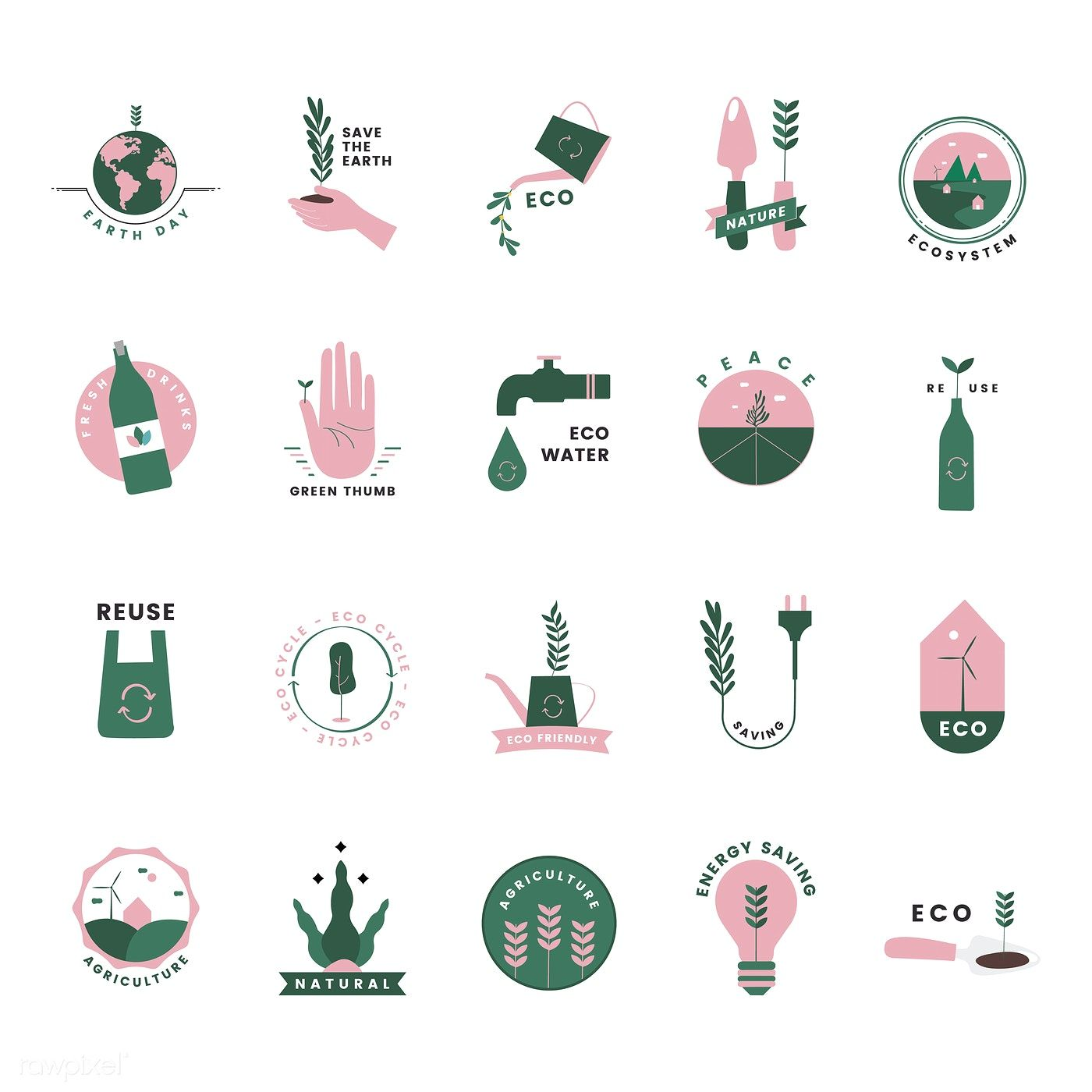 Download premium vector of Set of organic and go green