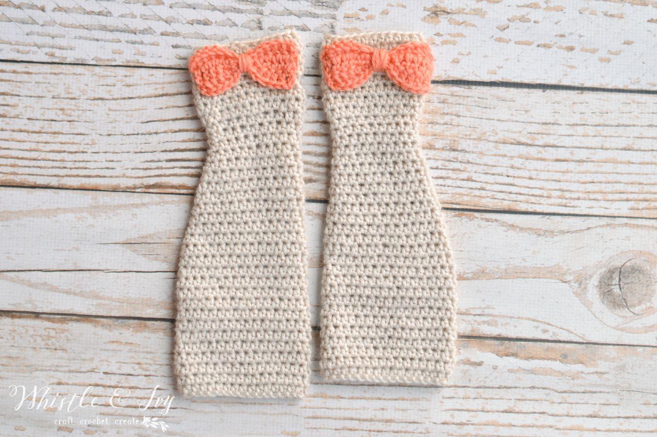 FREE Crochet Pattern - Dainty Bow Arm Warmers | Crochet arm warmers ...