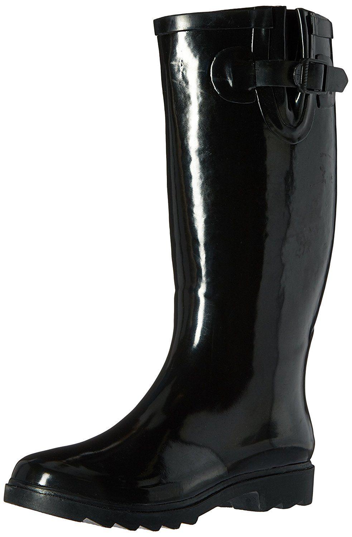 9bd6cf40165 Henry Ferrera Women's Classic Black Glossy Waterproof Rubber Rain ...
