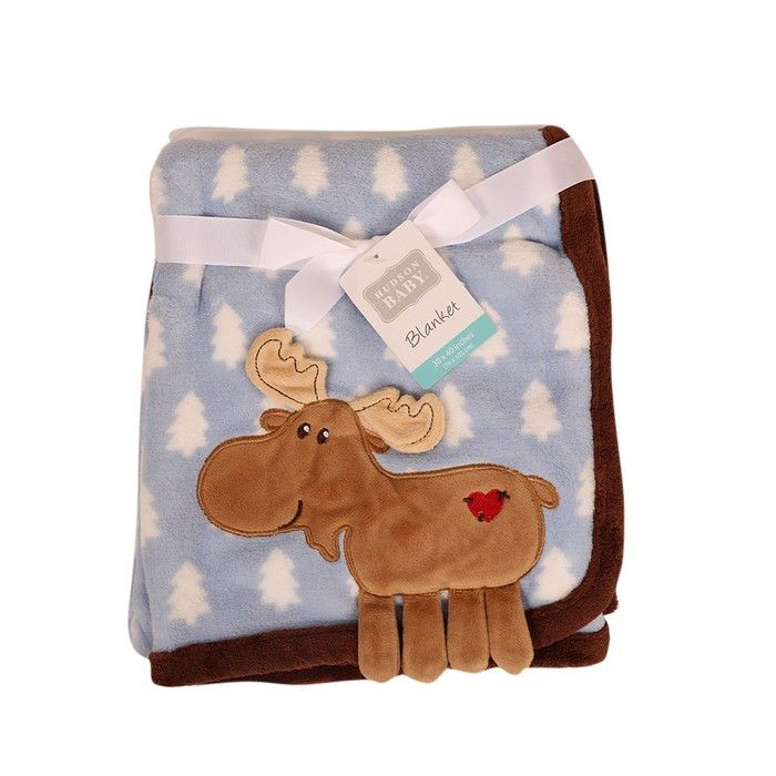 Baby Boy Soft Fleece Wrap Blanket Pram Cot Crib Moses Basket Blue Train Animals
