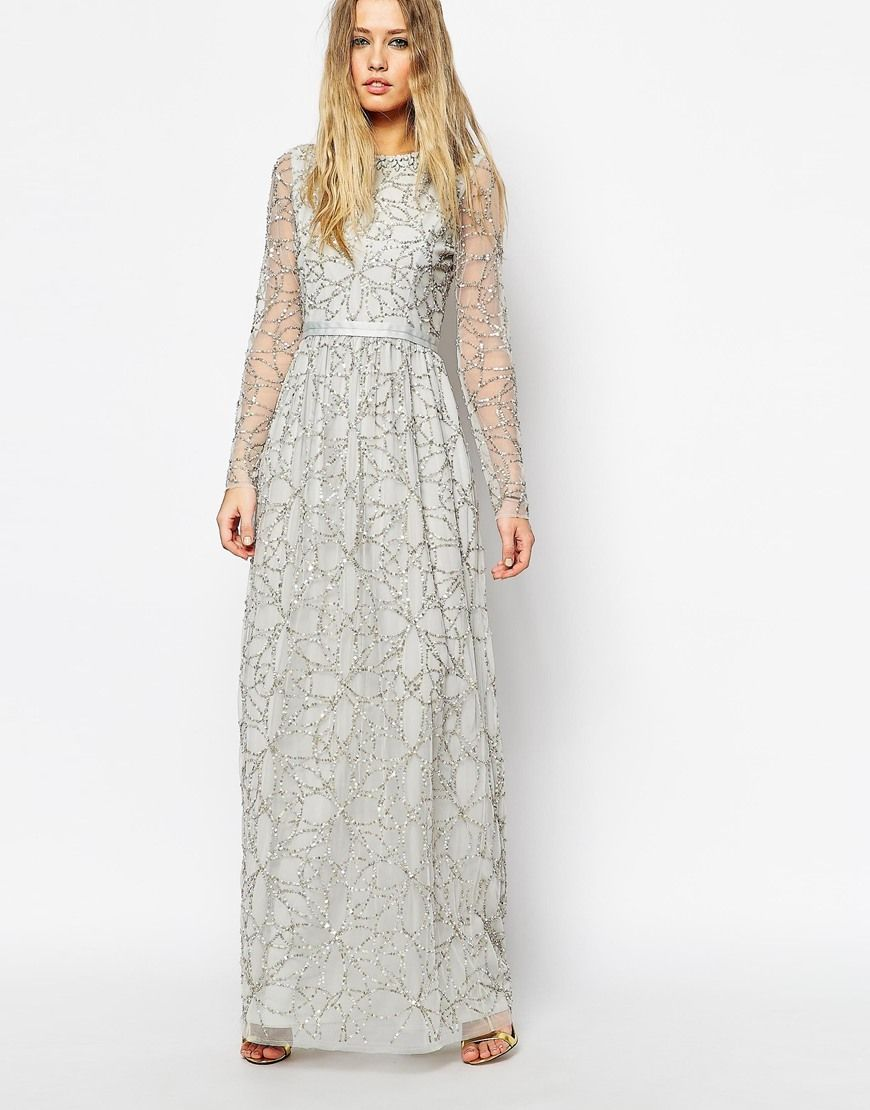 Image of needle u thread embellished iridescent tulle maxi dress