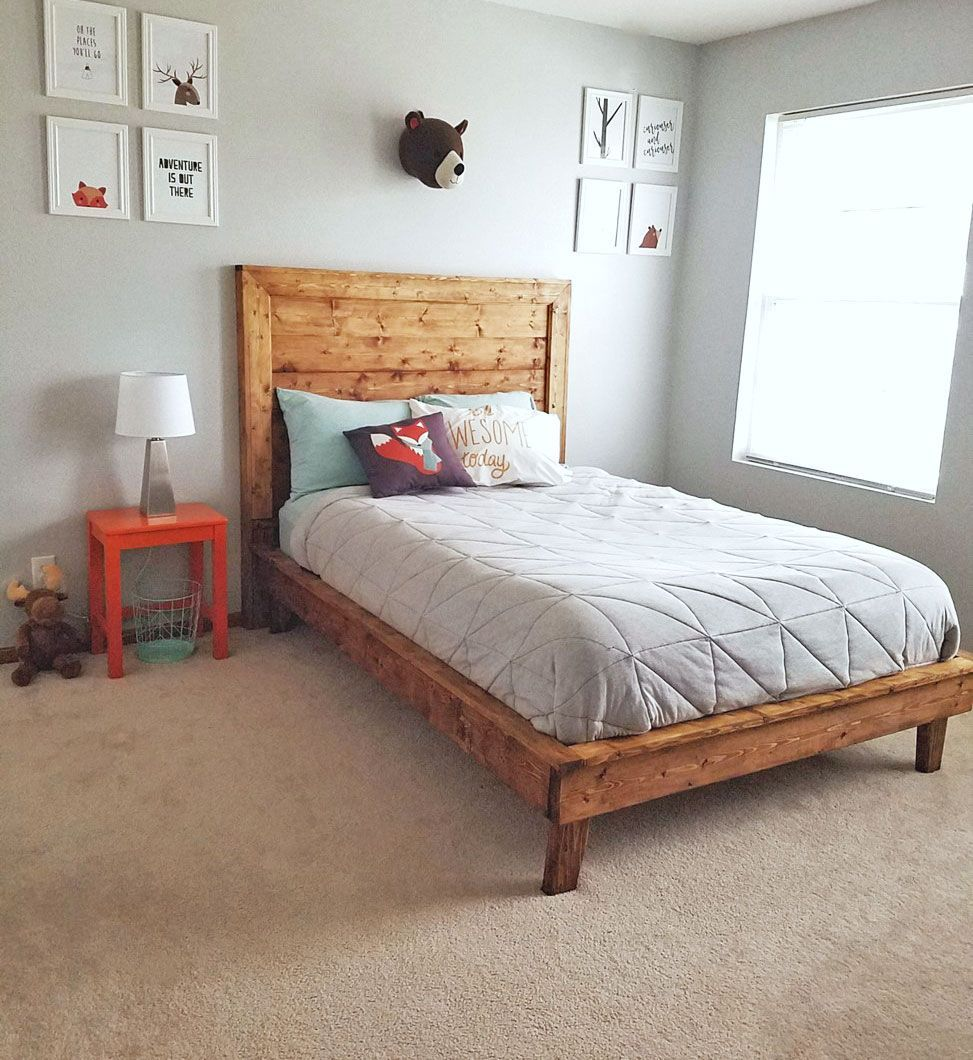 modern kids platform bed wood farmhouse style