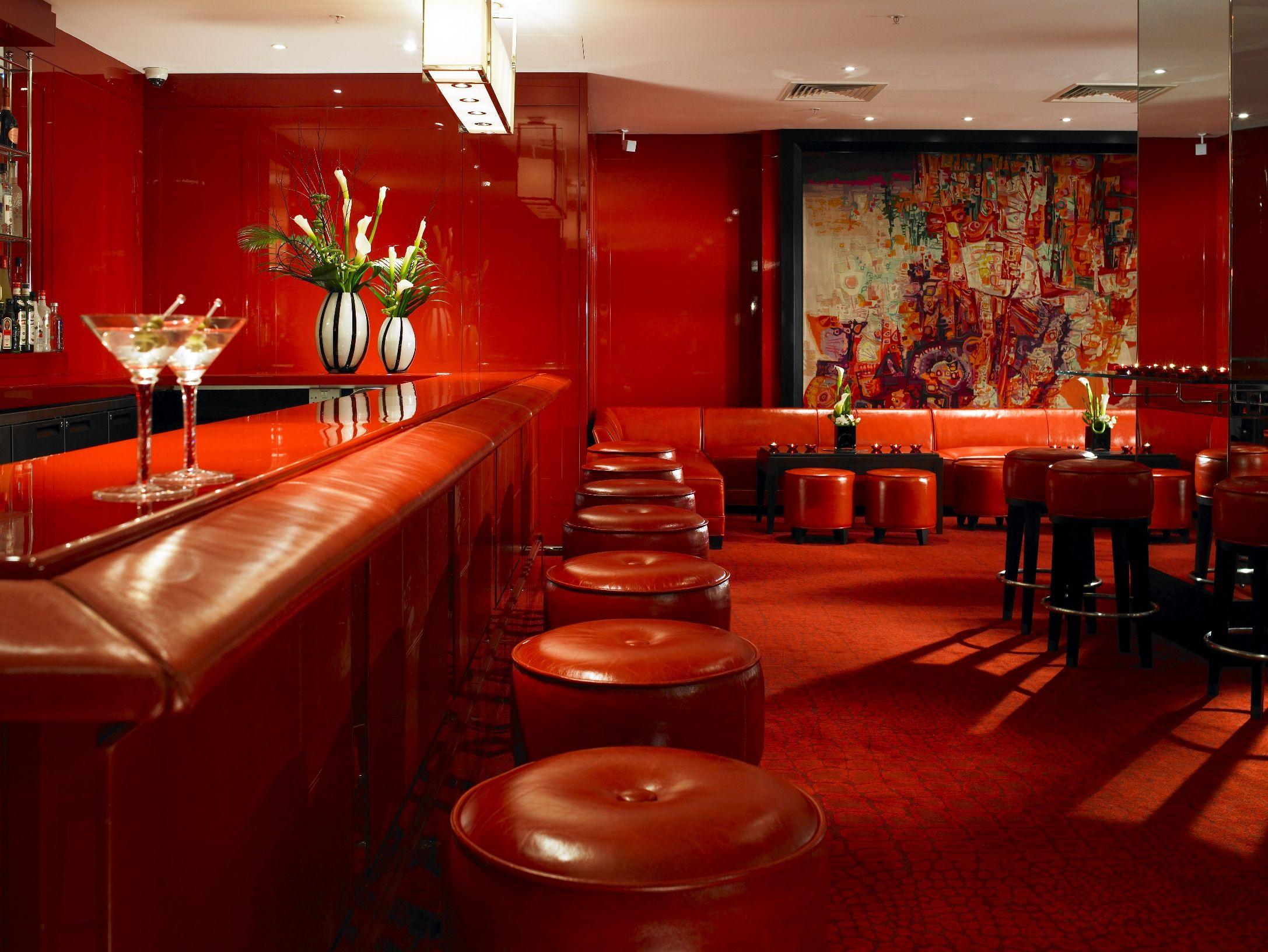 Red Bar At Grosvenor House A Jw Marriott Hotel In Mayfair Greater London Red Bar Padded Bar Stools Grosvenor House