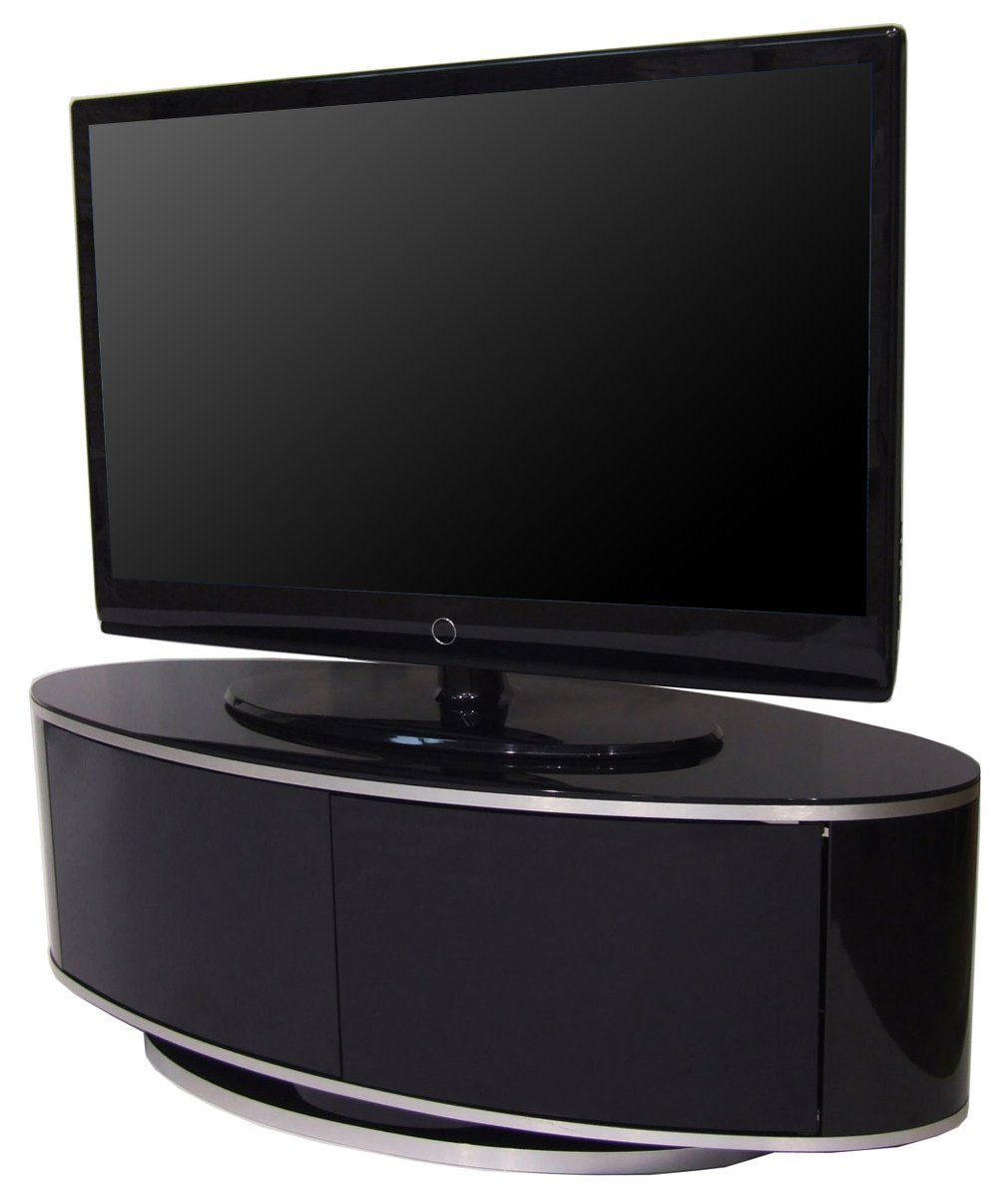 mda designs high gloss black oval tv stand with swivel base and remote friendly glass