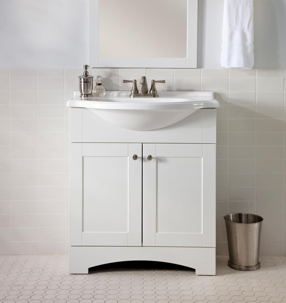 White Floor Mounted Antique Mirror Glass Bathroom Vanity