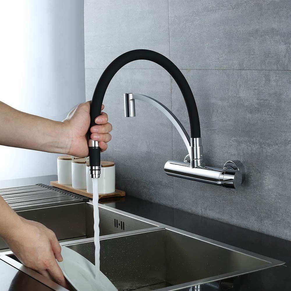 schwarz mischbatterie küche wandmontage 180° drehbar spüle