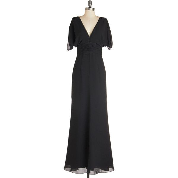 ModCloth Vintage Inspired Long Short Sleeves Maxi Make it Marvelous Dress
