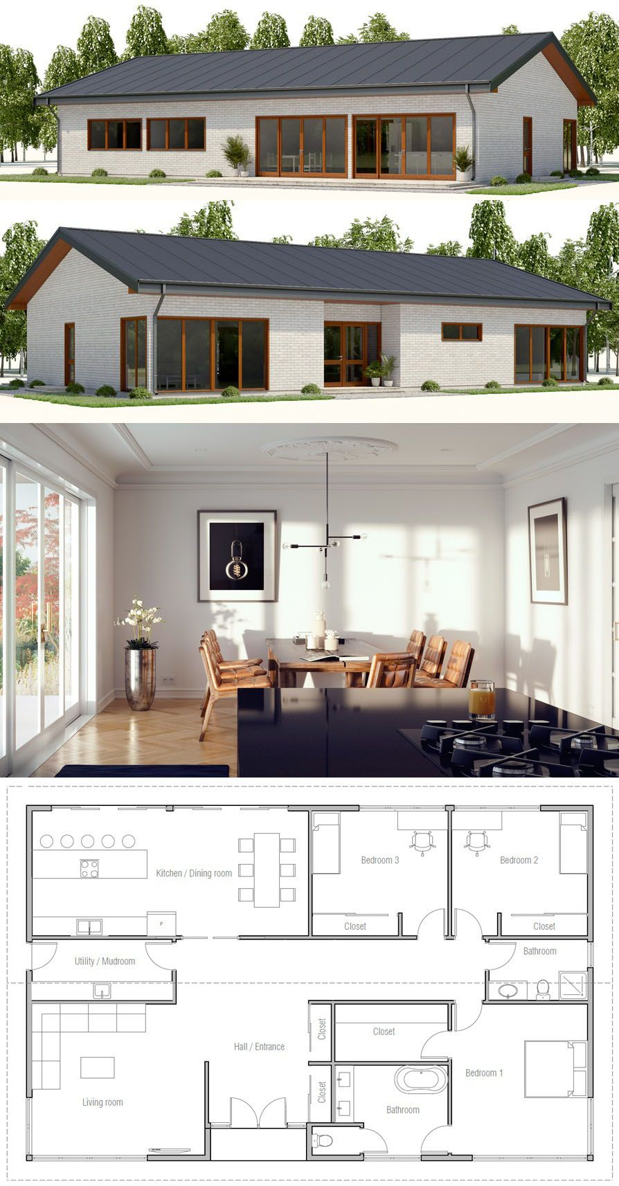 Home Plan Three Bedroom House Plan Small House Plans House Architecture Design Architecture House