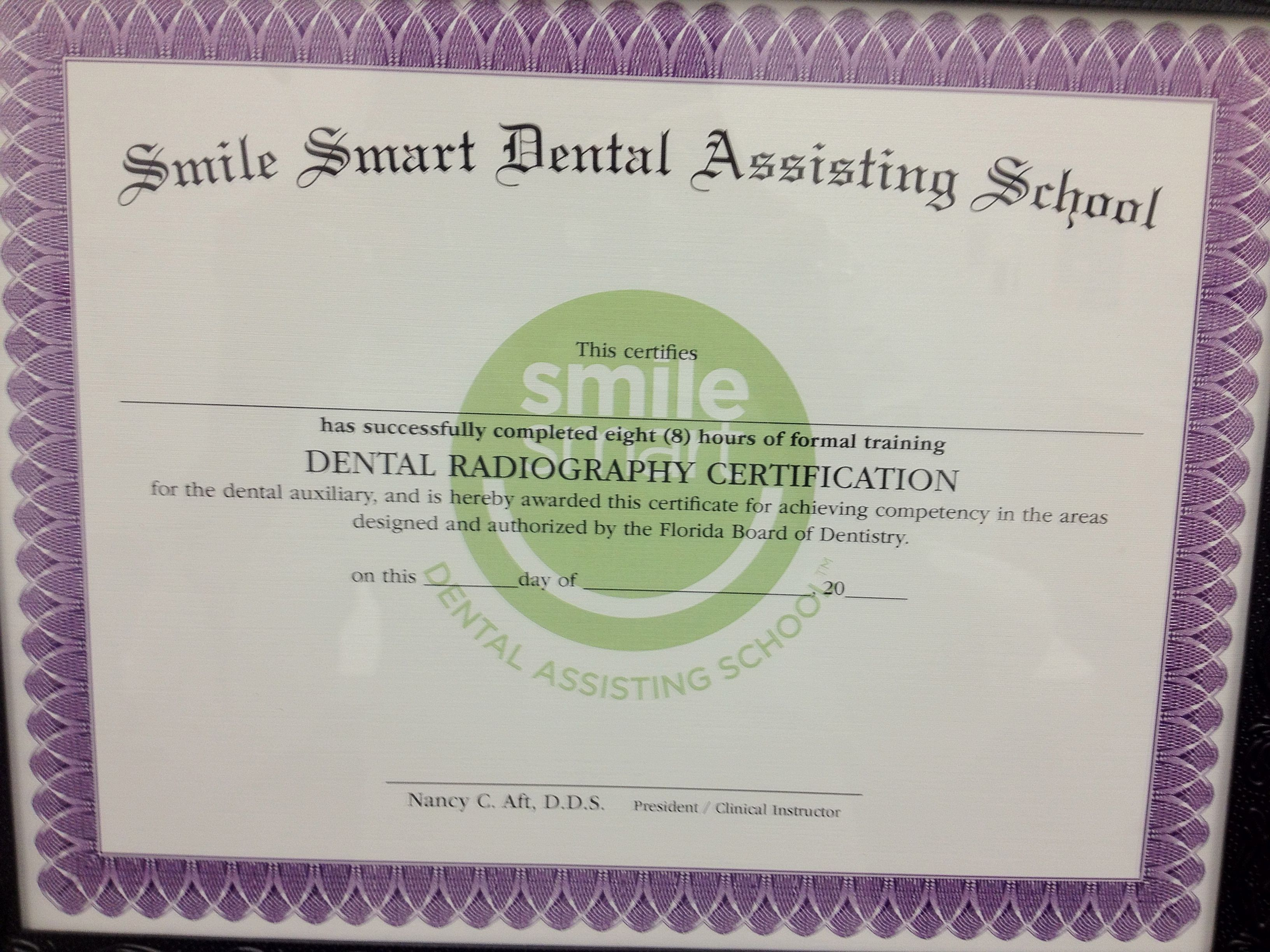 1 Of The Certificates You Receive From Our 8 Week Dental Assisting