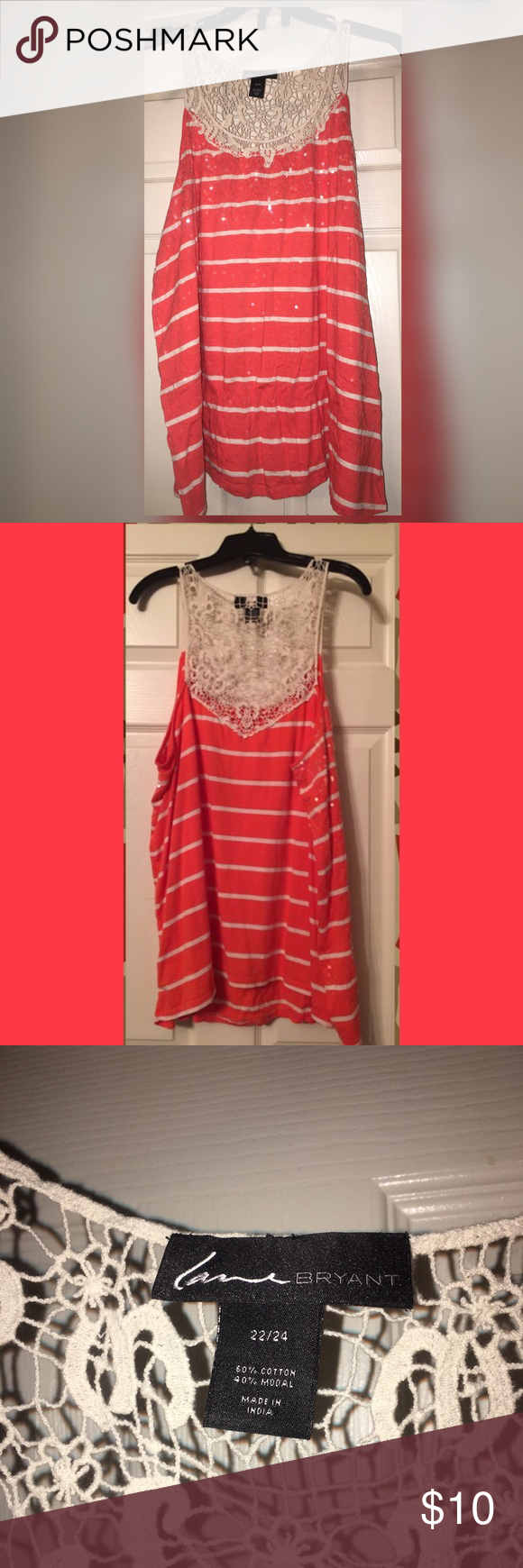 Coral striped tank with crochet back Coral striped tank with crochet back purchased from Lane Bryant. Size 22/24; Tank has clear sequin embellishments on front. ‼️ Product has never been worn and does not have any damage, however it has been washed. ‼️ Lane Bryant Tops Tank Tops