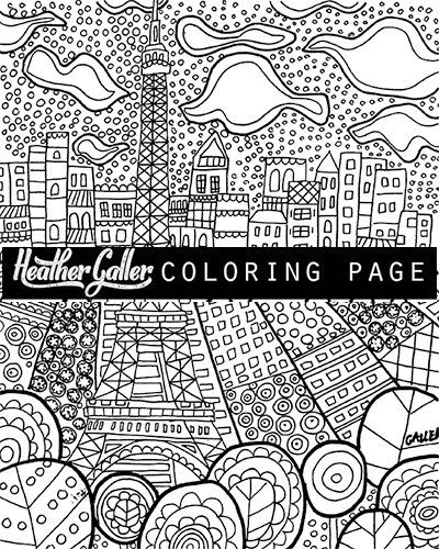paris eiffel tower diy instant coloring book page art digital download print heather galler coloring