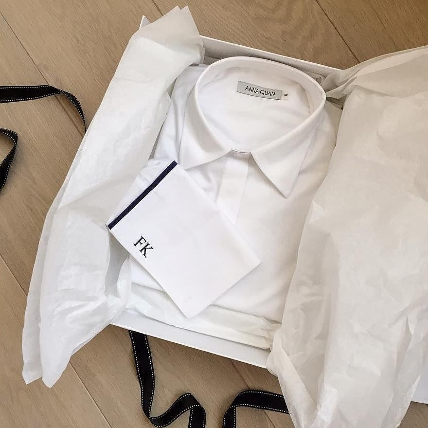 Beautifully monogrammed wrapped and delivered to your doorstep @felicitykay | Order your own custom shirt now at annaquan.com
