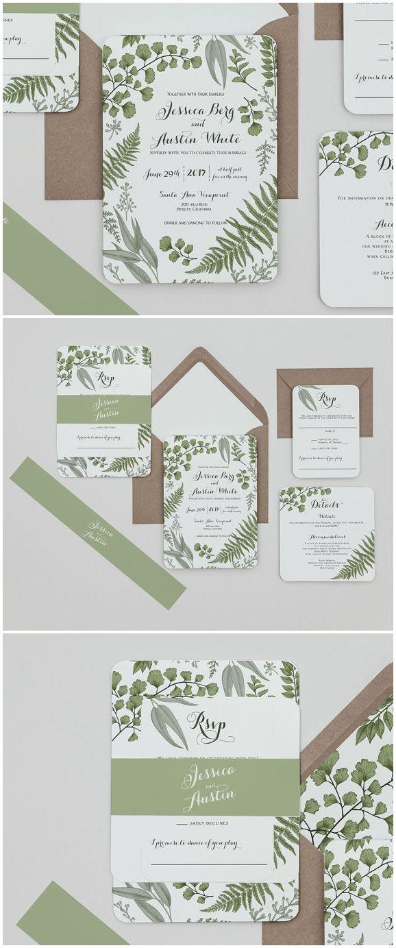 Rustic Woodland Wedding Invitation Set ,Vintage Greenery Wedding ...
