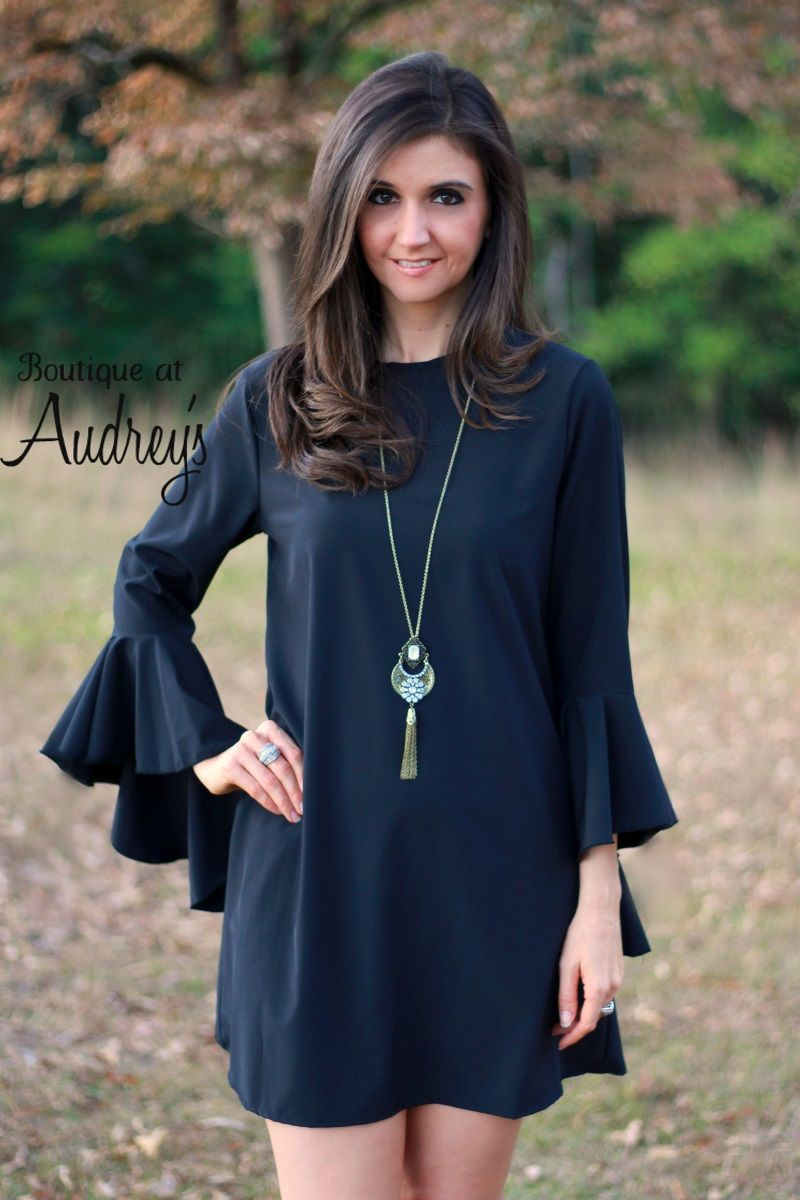2 Hearts Black Shift Dress with Cascading Bell Sleeves
