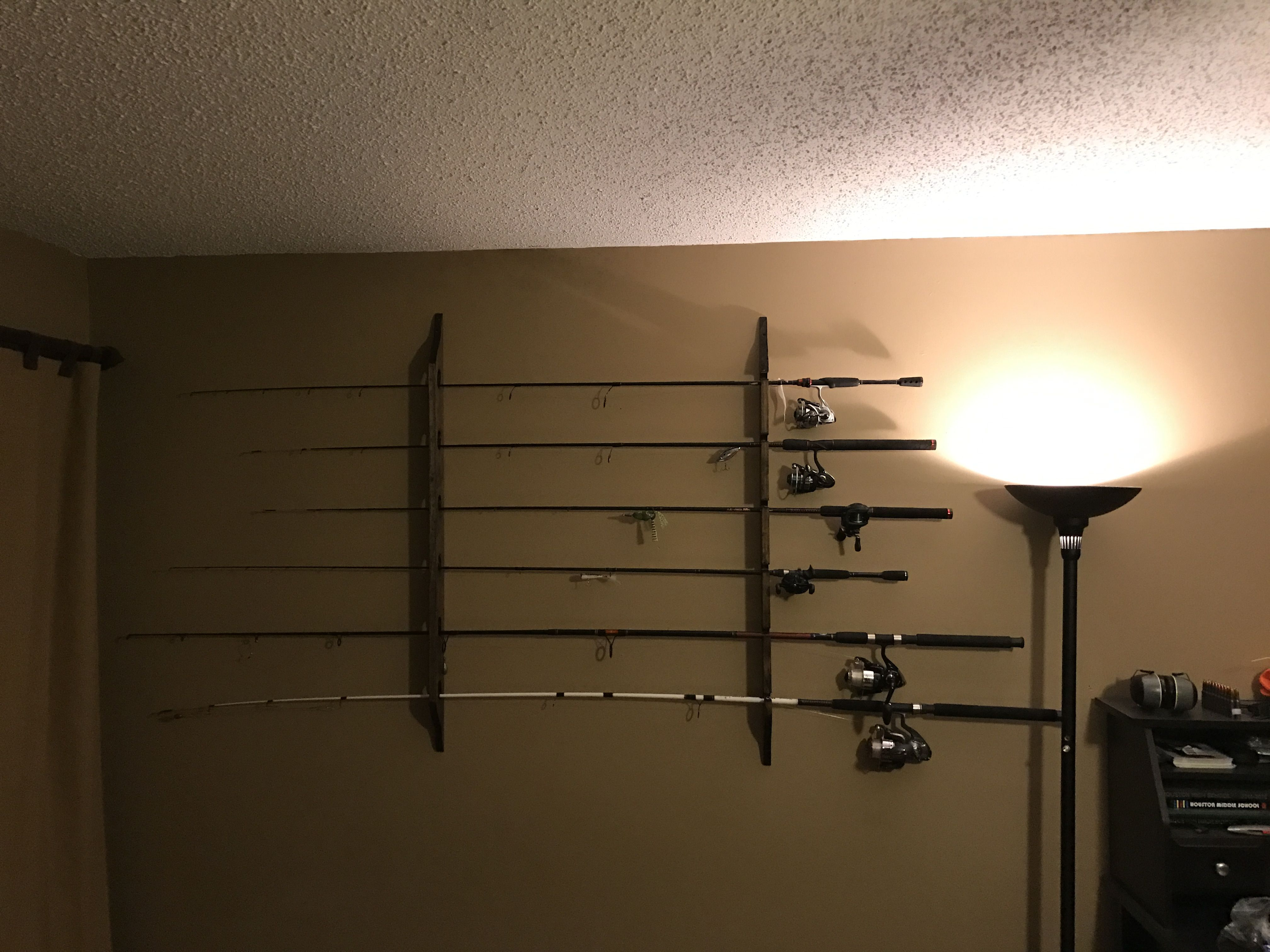 First Diy Hand Made Wall Mounted Horizontal Fishing Rod Holders Handmade Crafts Howto Diy Diy Holder Fishing Pole Holder Diy Diy