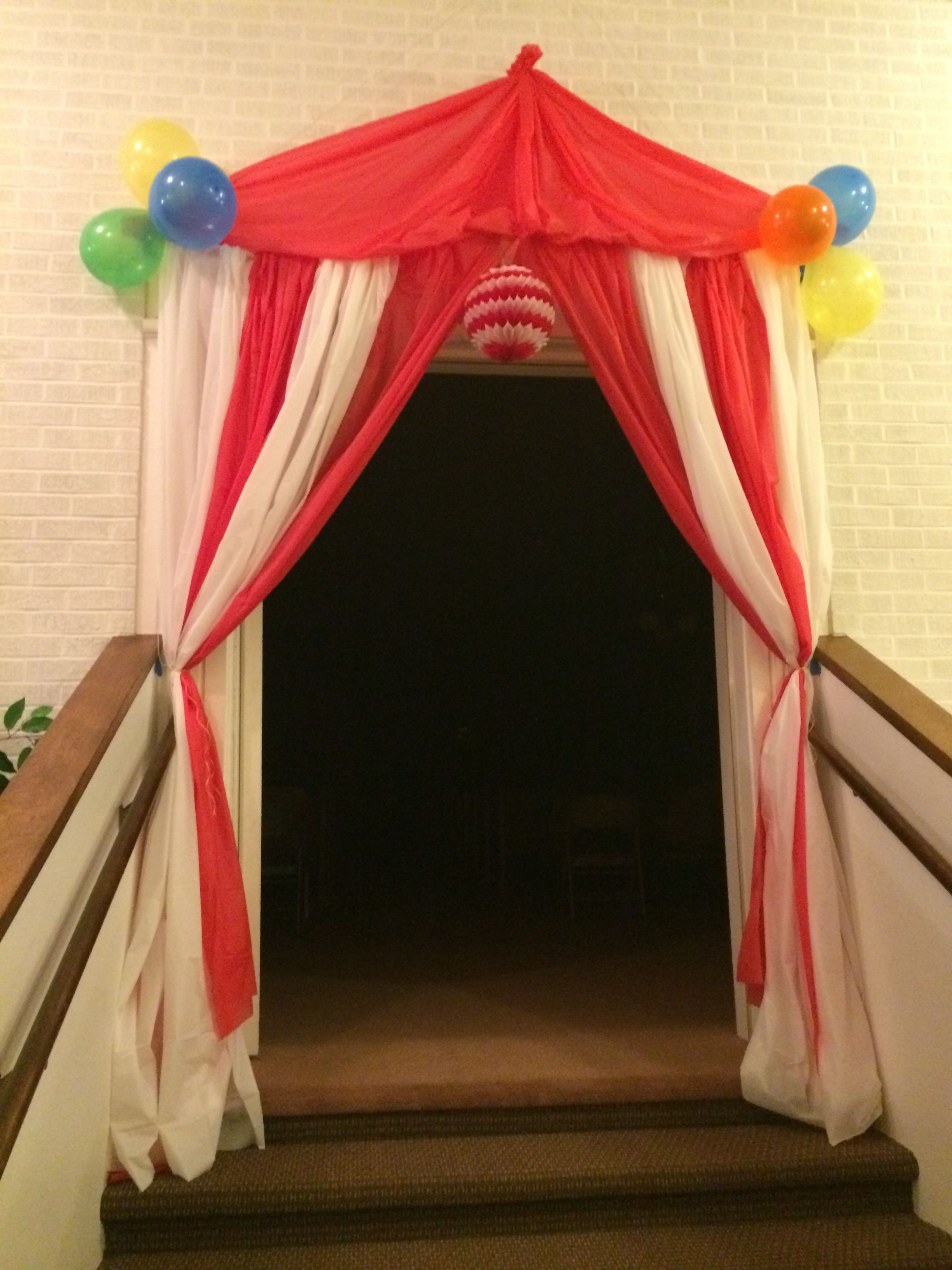 Tent entrance we made for our circus themed preschool for Clown dekoration