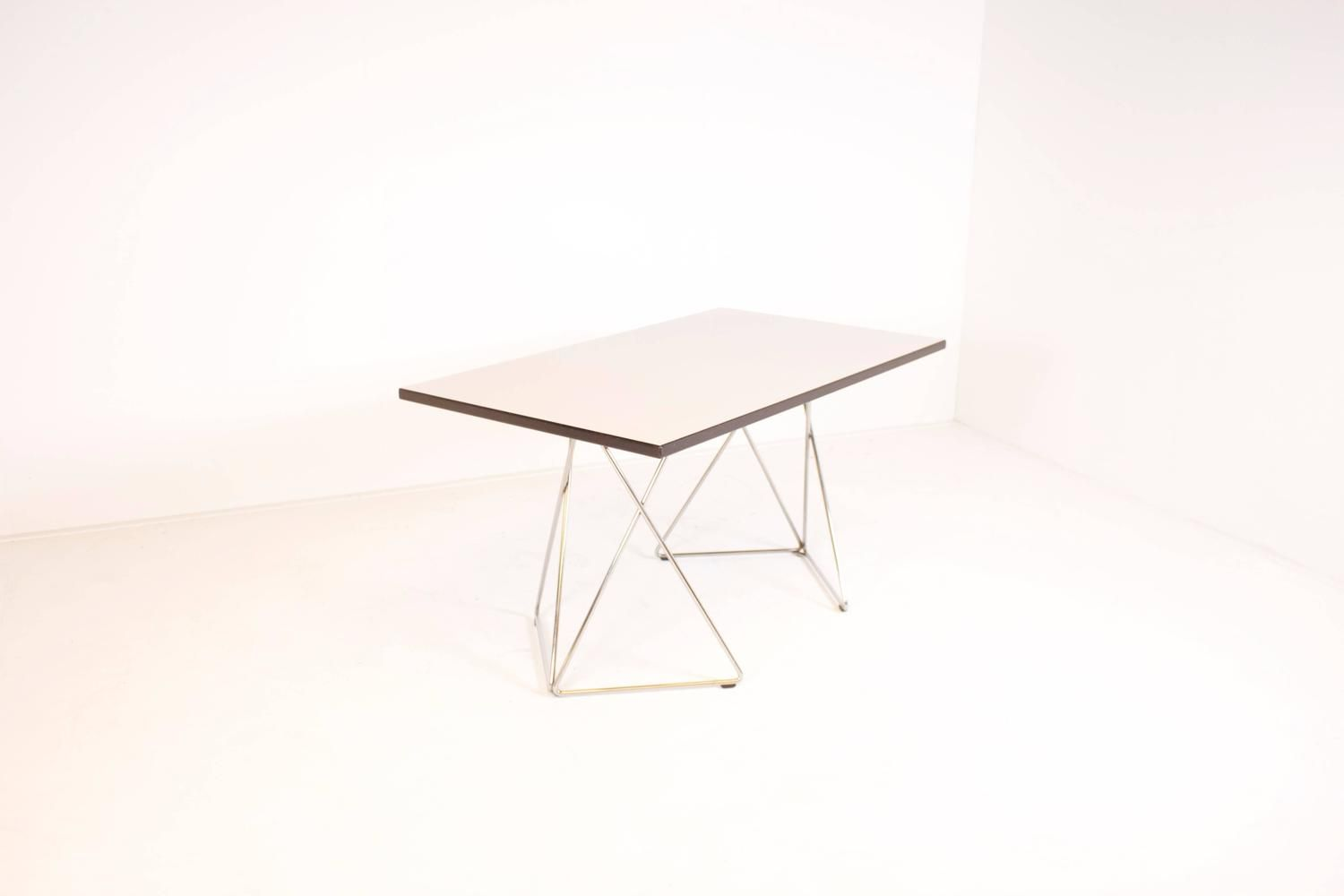 Graphic Formica And Chrome Thonet Table Or Desk Table Compact