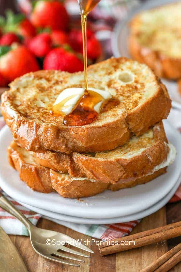 This is our favorite French Toast recipe! We love making this into a casserole or spicing it up with a stuffed French Toast casserole! With three main ingredients, eggs, bread and milk, it doesn't get any easier than that!