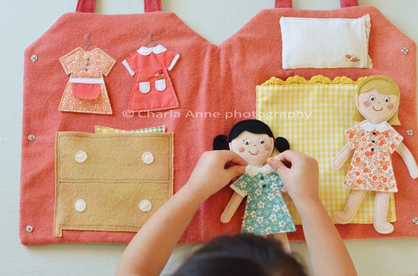 Dolls and carrying case made by Charla Anne