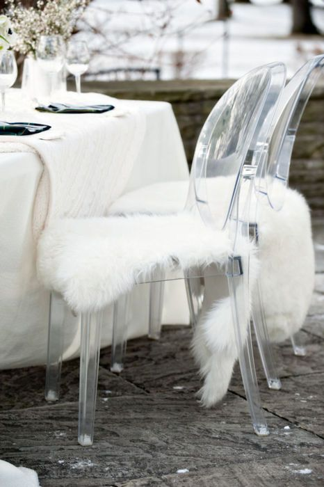 Sheepskins are so cozy draped on a chair.