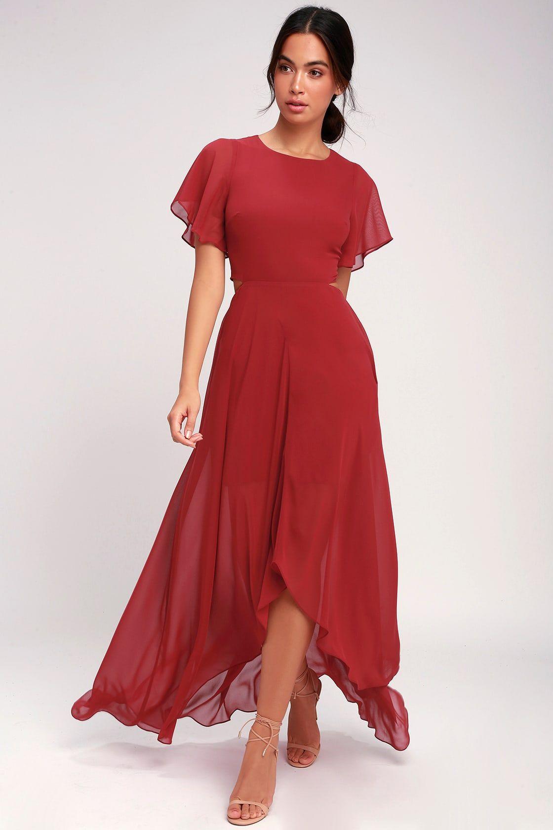 2897f6d370 Bohemian Rhapsody Brick Red Cutout High-Low Dress in 2019   Clothing ...