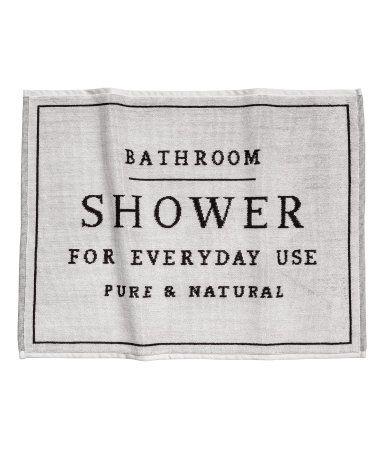 Light Gray Rectangular Bath Mat In Thick Jacquard Weave Cotton