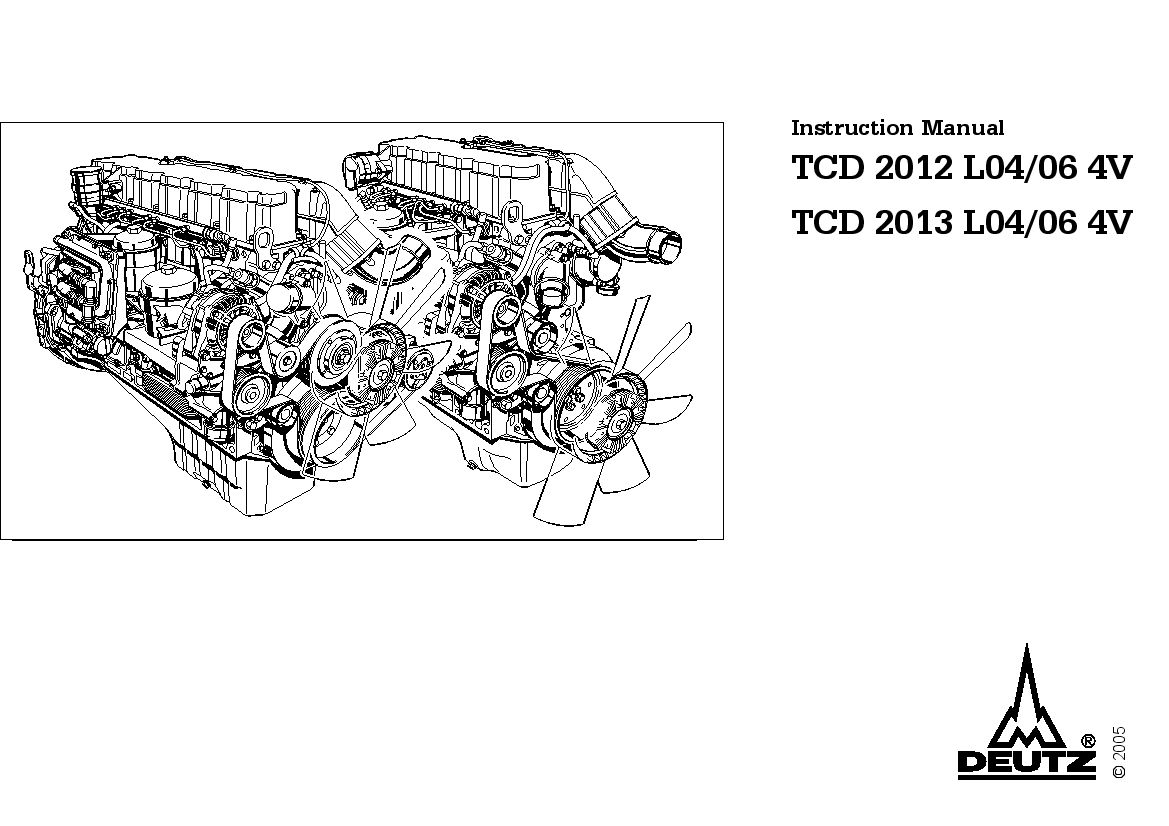 Deutz engine TCD 2012 2013 L04 06 4V Instruction Manual