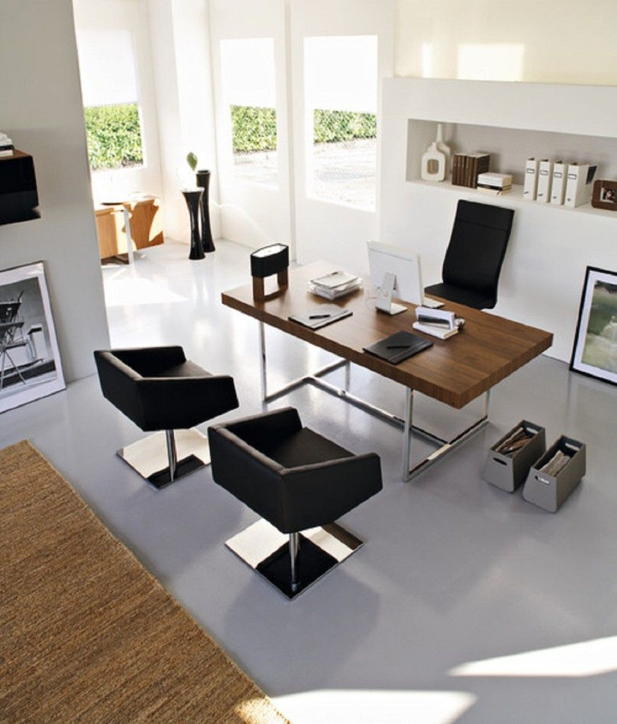 Modern Home Office:exquisite Awesome Brown Rug Designed Modern Black White Home  Office Interior Furniture