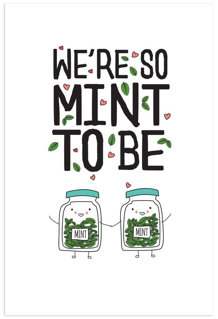 Awesome Funny Food Pun   Weu0027re So Mint To Be Greeting Card   Part Of An Herb Pun  Collection From Humdrum Paper