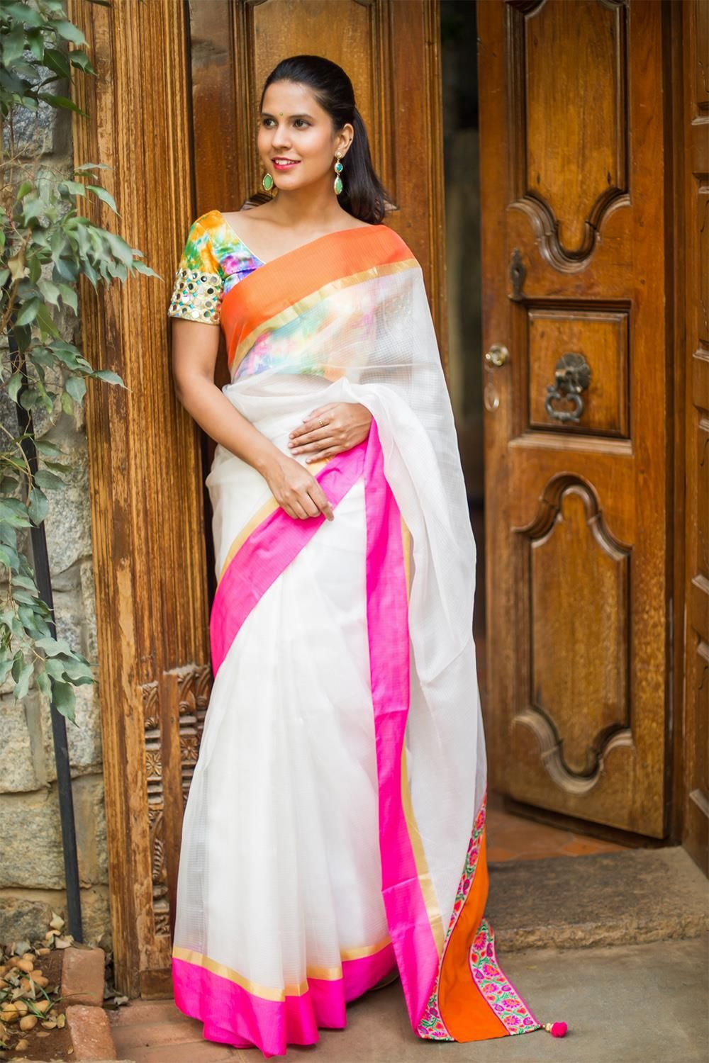 e32744feab38df White silk Kota saree with orange, pink and gold border #saree # houseofblouse #kota #white #pink #orange #gold