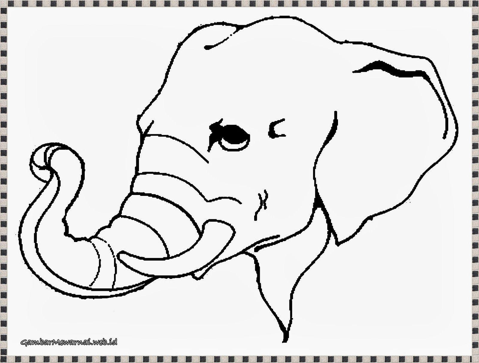 Mewarnai Gambar Kepala Gajah Gajah, Menggambar Kepala, Warna