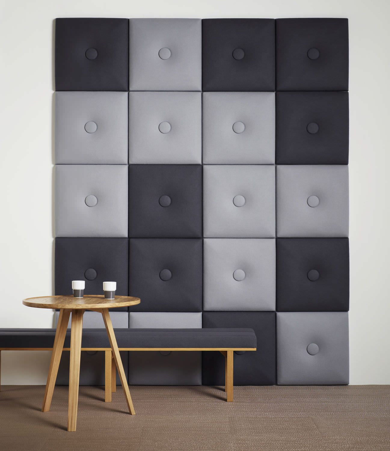 upholstered wall panels with tufted buttons with cool gray textile acoustic panel design home. Black Bedroom Furniture Sets. Home Design Ideas