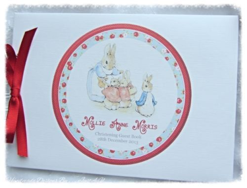 BABY SHOWER NAMING DAY PERSONALISED PETER RABBIT CHRISTENING GUEST BOOK