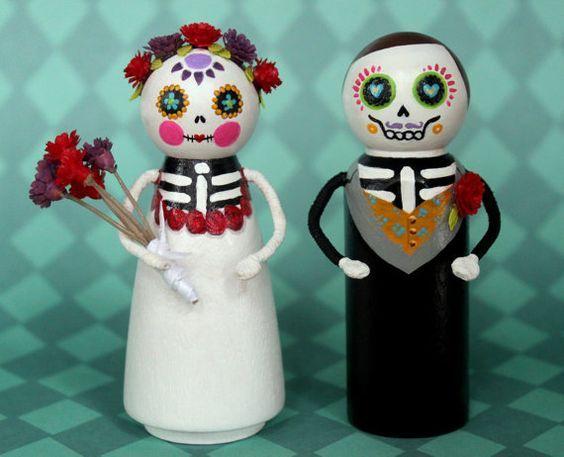 Day of the Dead Wedding Cake Topper, Dia de los Muertos Wedding ...