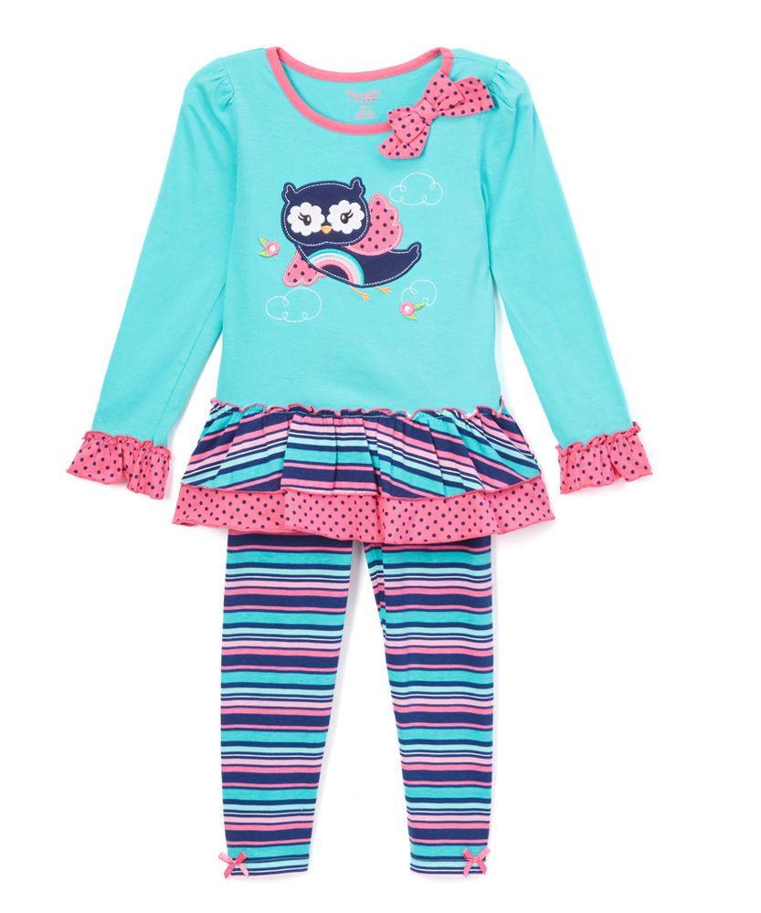 f40f5c53e844 Teal & Pink Owl Tunic & Leggings Set - Size 5 Nannette Girl #Nannette  #Everyday