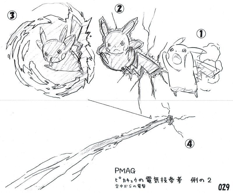 Concept art for the anime showing animators how Pikachu's ...