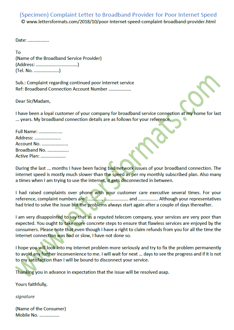 complaint letter to broadband provider for poor resume format fresher student builder with templates microsoft 2019