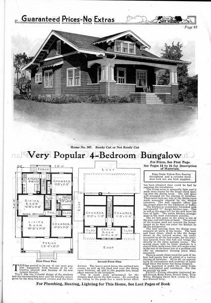 Gordon Van Tine 507 Craftsman House Plans House Plans Craftsman Style Bungalow