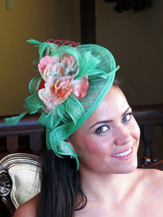 Mint green fascinator coral flower wedding hat by FascinatorsFirst ... 75f55a20b63