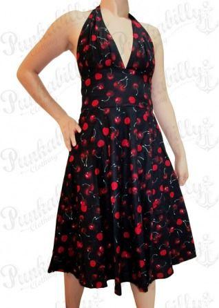 Black Rockabilly Dress with Cherry Print