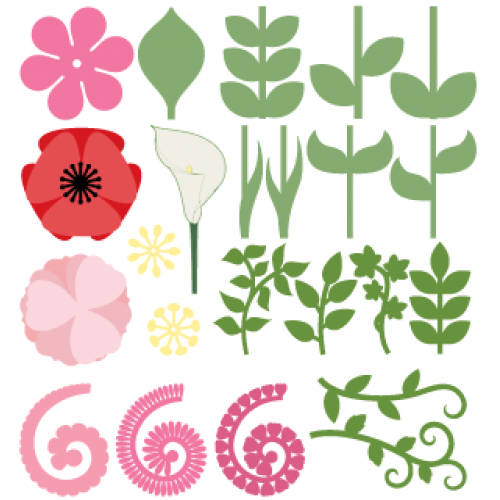 Flowers and Leaves Flower svg files, Rolled paper