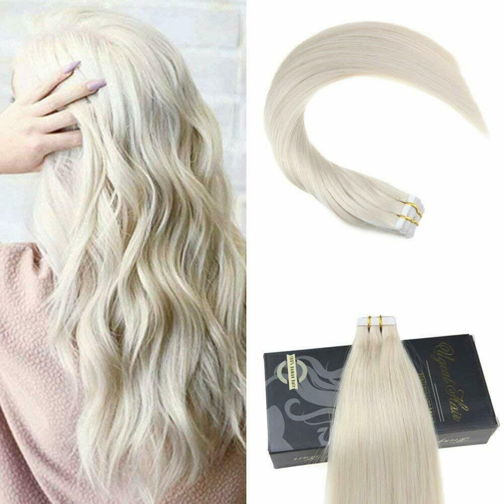 Ugeat 40g 50g Solid Tape In Human Hair Extensions Platinum Blonde