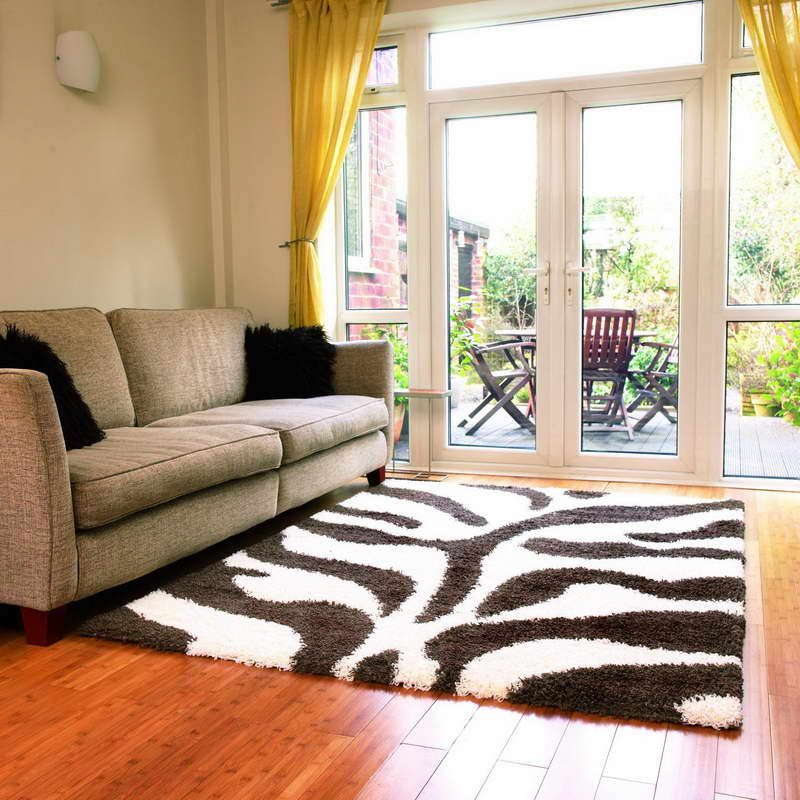 Zebra Living Room Carpet With Luxury Sofa http