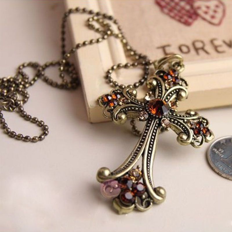 New Crucifix Crystal Embellished Amber Necklace Costume